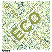 Vector concept or conceptual ecology, recycle or energy text word cloud isolated on background