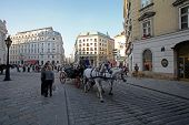 VIENNA, AUSTRIA - OCTOBER 10: Traditional old-fashioned fiacres at Michaelerplatz near Hofburg of Vienna, Austria on October 10, 2014.