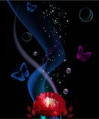 illustration with red flower and abstract butterflies decoration on dark background