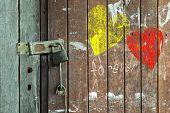 Vintage Valentine Heart On A Weathered Wooden Door