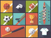 Team Sports Flat Design Vector Illustration. Illustration with various team sports equipment icons