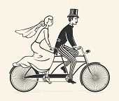 picture of tandem bicycle  - Illustration of bride and groom riding a vintage tandem bicycle over white background - JPG
