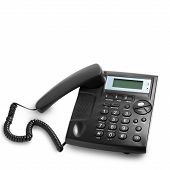 modern phone call with cord isolated