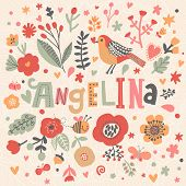 Bright card with beautiful name Angelina in poppy flowers, bees and butterflies. Awesome female name design in bright colors. Tremendous vector background for fabulous designs