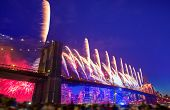 July 4th 2014 fireworks at Brooklyn bridge Manhattan skyline New York USA