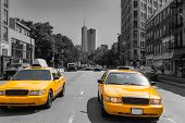 stock photo of west village  - New York West Village in Manhattan yellow cab taxi NYC USA - JPG