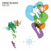 Abstract vector color map of Faroe Islands with transparent paint effect.
