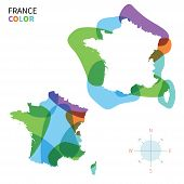 Abstract vector color map of France with transparent paint effect.
