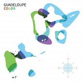 Abstract vector color map of Guadeloupe with transparent paint effect.