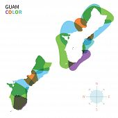 stock photo of guam  - Abstract vector color map of Guam with transparent paint effect - JPG