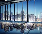 Office Cityscape Builidings Contemporary Interior Room Modern Concept