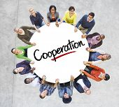 Diverse People in a Circle with Cooperation Concept