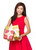 Asian Woman hold with gift box