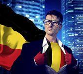 Businessman Superhero Country Belgium Flag Culture Power Concept