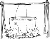Outline Of Kettle Over Campfire
