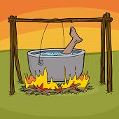 stock photo of cannibal  - Foot sticking out of boiling pot in bonfire - JPG