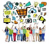 Diversity Casual People Online Marketing Success Celebration Concept