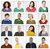 pic of human face  - People Diversity Faces Human Face Portrait Community Concept - JPG