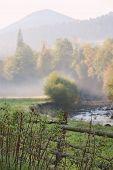 fence near river in morning fog