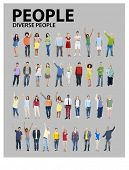 Diverse Group People Standing Arms Raised Concept
