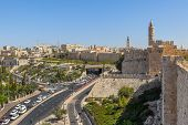 David Tower, Old City surrounding walls and urban view of Jerusalem, Israel.