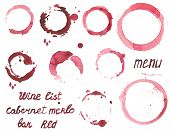 Vector set of watercolor painted wine stains on  white background