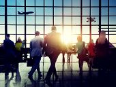 Business People Rushing Walking Plane Travel Concept