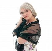image of matron  - Mature attractive Caucasian woman in a dress and shawl - JPG