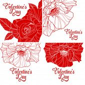 Set of valentines day greeting cards with handdrawn roses.Vector illustration.