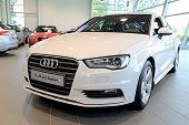 White Audi A3 Sedan On Display
