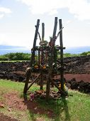 stock photo of burial  - a small shrine at a Hawaiian burial ground for food offerings - JPG