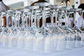 Empty Wine Glasses Arranged In Row