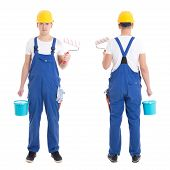 Front And Back View Of Young Man Painter In Blue Coveralls Isolated On White