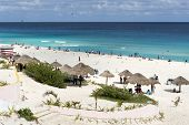 stock photo of yucatan  - A view of Playa Delfines in Cancun - JPG