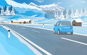 Car travel in Alps at winter season. EPS 10 format.
