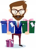 Businessman offering many gifts, vector illustration