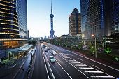 road in sunset time, Shanghai lujiazui financial center