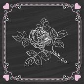 Sket?h of Rose on a Chalkboard Background. Valentine card