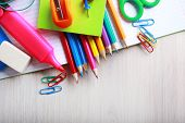 School supplies on desk, close-up