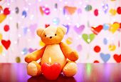 Teddy bear with candle, love concept