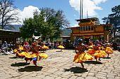 Bhutan masked festival dancers
