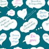 Seamless Pattern Of Clouds With Declarations Of Love. Vector Illustration.