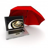 3D rendering of a laptop with a golden Earth on the screen, protected by an umbrella