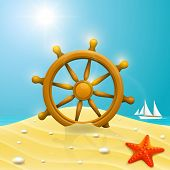 Beach with wheel of the ship