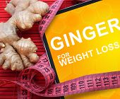 Tablet with words ginger for weight loss.