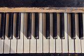 Close Up Of Vintage Piano Keys  Piano