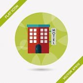 stock photo of motel  - Building Motel Flat Icon With Long Shadow - JPG