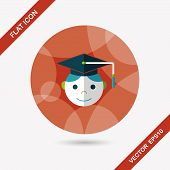 Graduation Man Flat Icon With Long Shadow,
