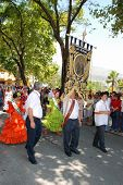 Flag bearers in procession, Marbella.