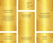 Set Of Golden Leaflet And Business Card Templates.